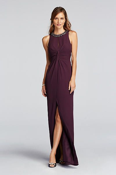 pleated crepe dress with keyhole and beaded neck jp281634 evening dresses for weddingswedding