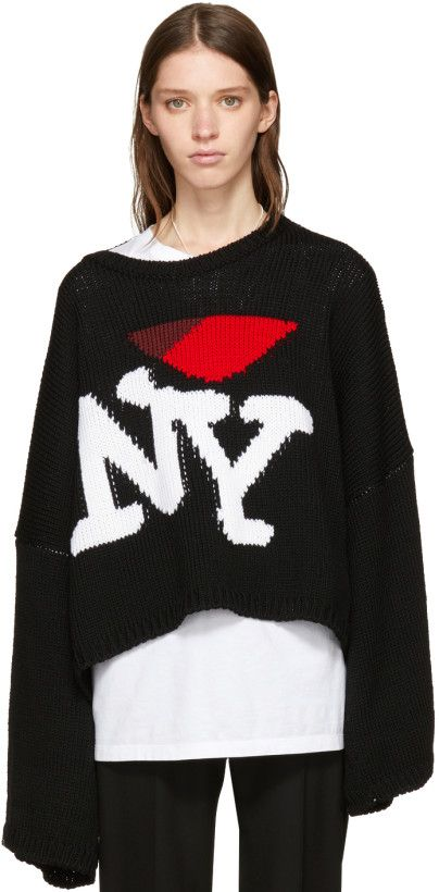 Raf Simons Black Oversize I Love Ny Sweater Want Raf Simons