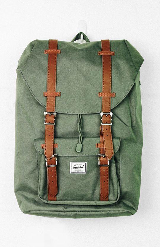 ef3bed2d575 Herschel Little America Mid - Volume Backpack - Deep Lichen Green Tan from  peppermayo.com