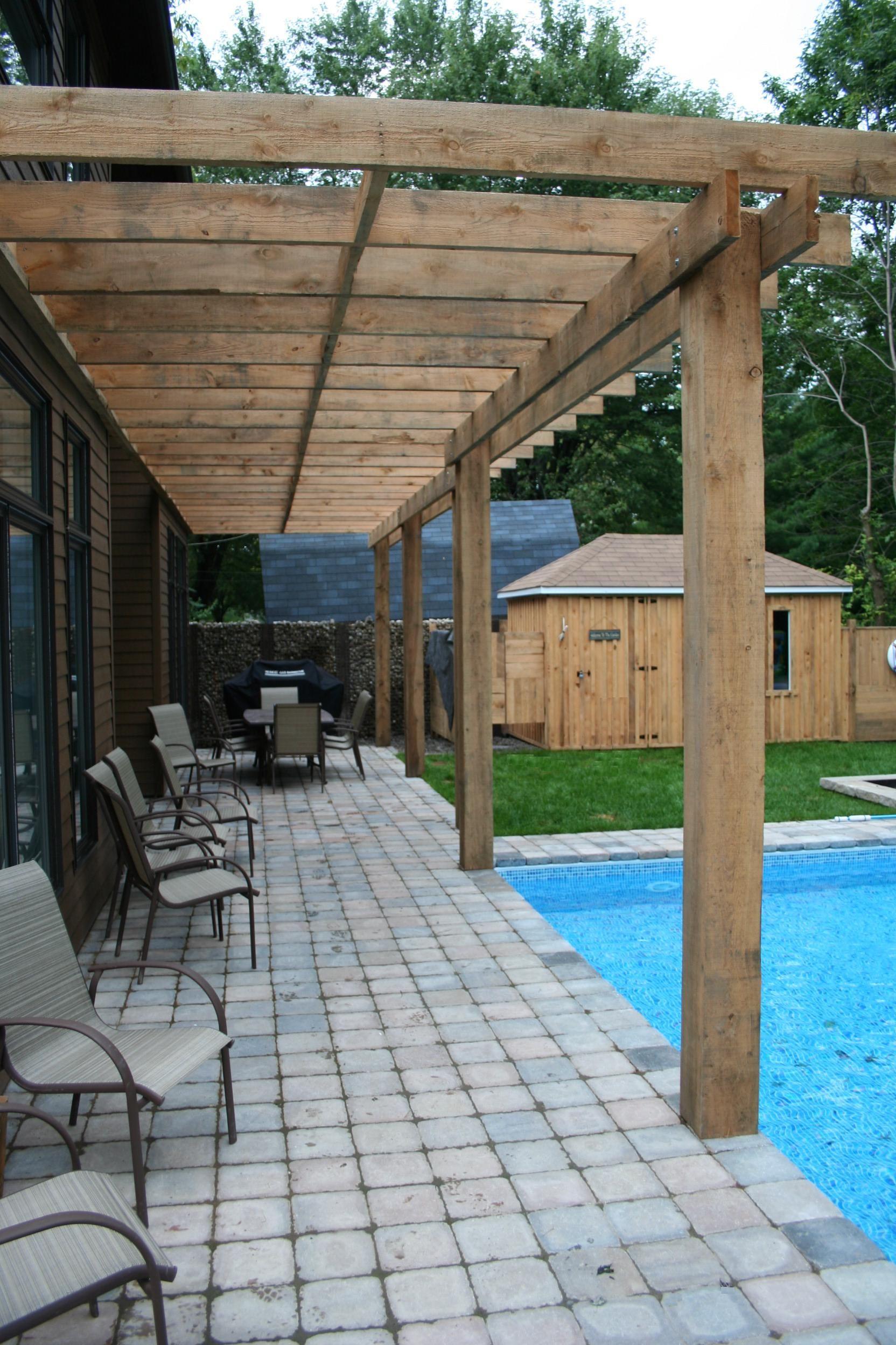 pergola en bois dalles de pav permacon piscine creus e mobilier d 39 ext rieur wooden. Black Bedroom Furniture Sets. Home Design Ideas