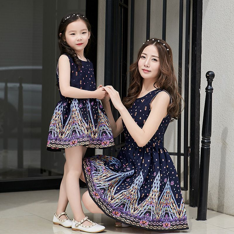 Silk Mother and Daughters 3 Pieces Matching Dresses WJ51416