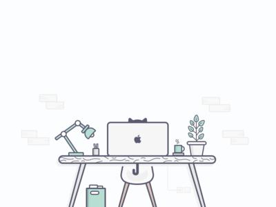 Office Desk Illustration Illustration Office Desk Simple Desk