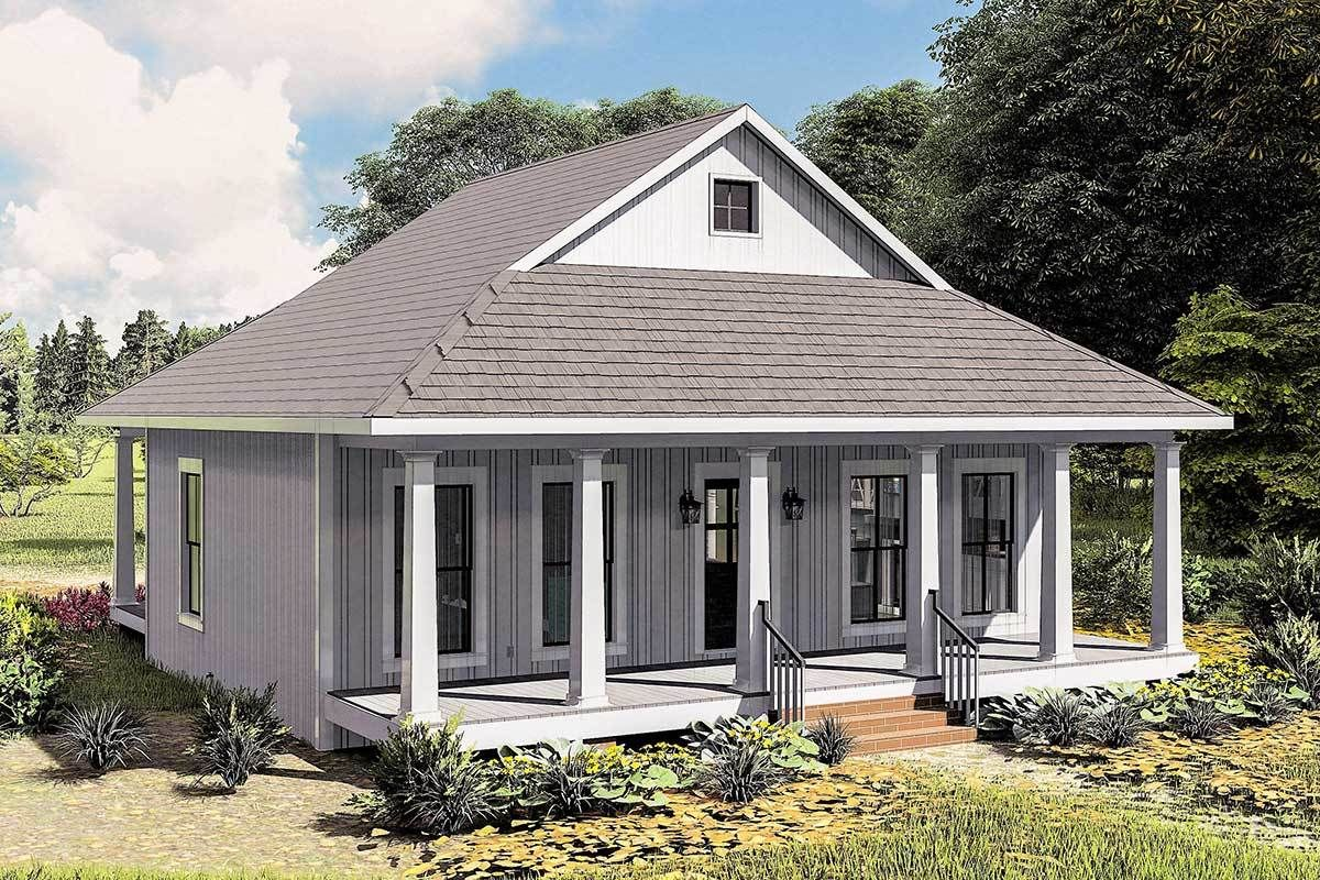 Plan 25013dh Cottage With 8 Deep Front And Back Porches In 2021 Small Cottage House Plans Farmhouse Style House Plans Cottage House Plans