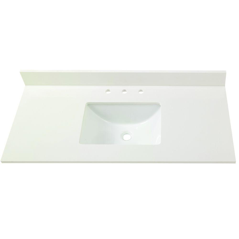 Web Photo Gallery Home Decorators Collection in W Engineered Marble Single Basin Vanity Top in Winter White
