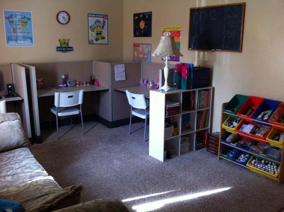 Homeschool room w cubicles homeschool pinterest for Homeschool dining room ideas