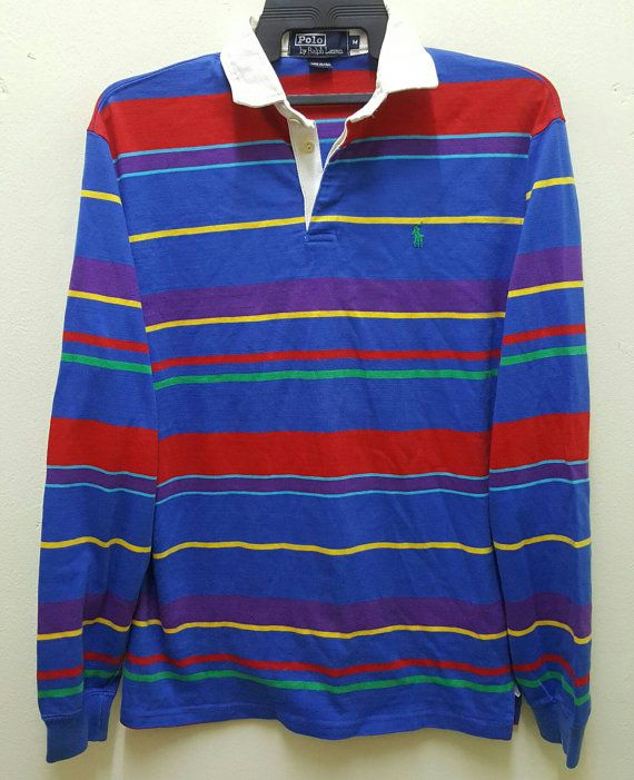 053837744 Polo Ralph Lauren Vintage 90s Rare Polo Rugby Shirt Multi Colour Stripes  Made in USA