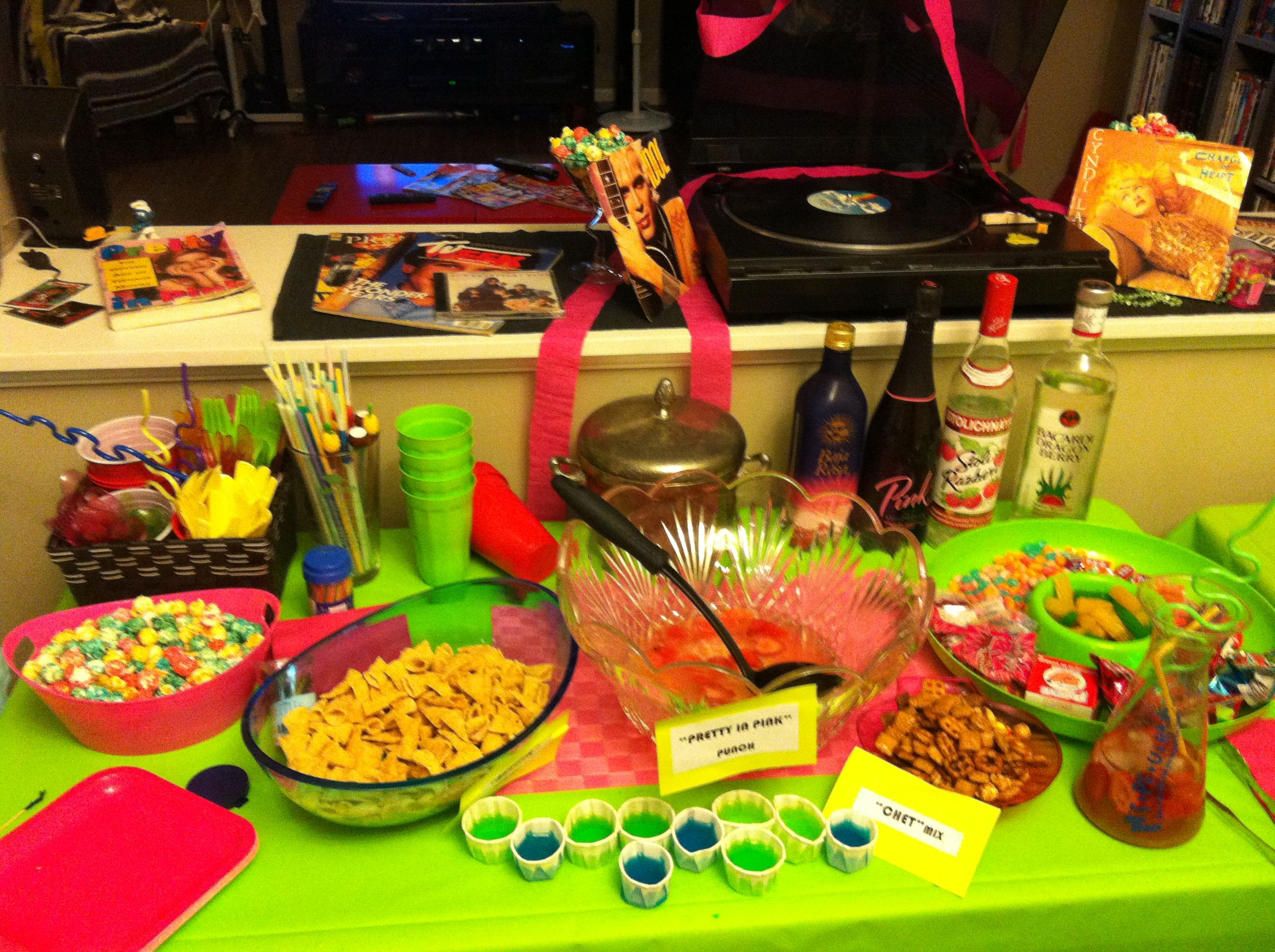 80 39 s john hughes party just some of our food table for 80s prom decoration ideas