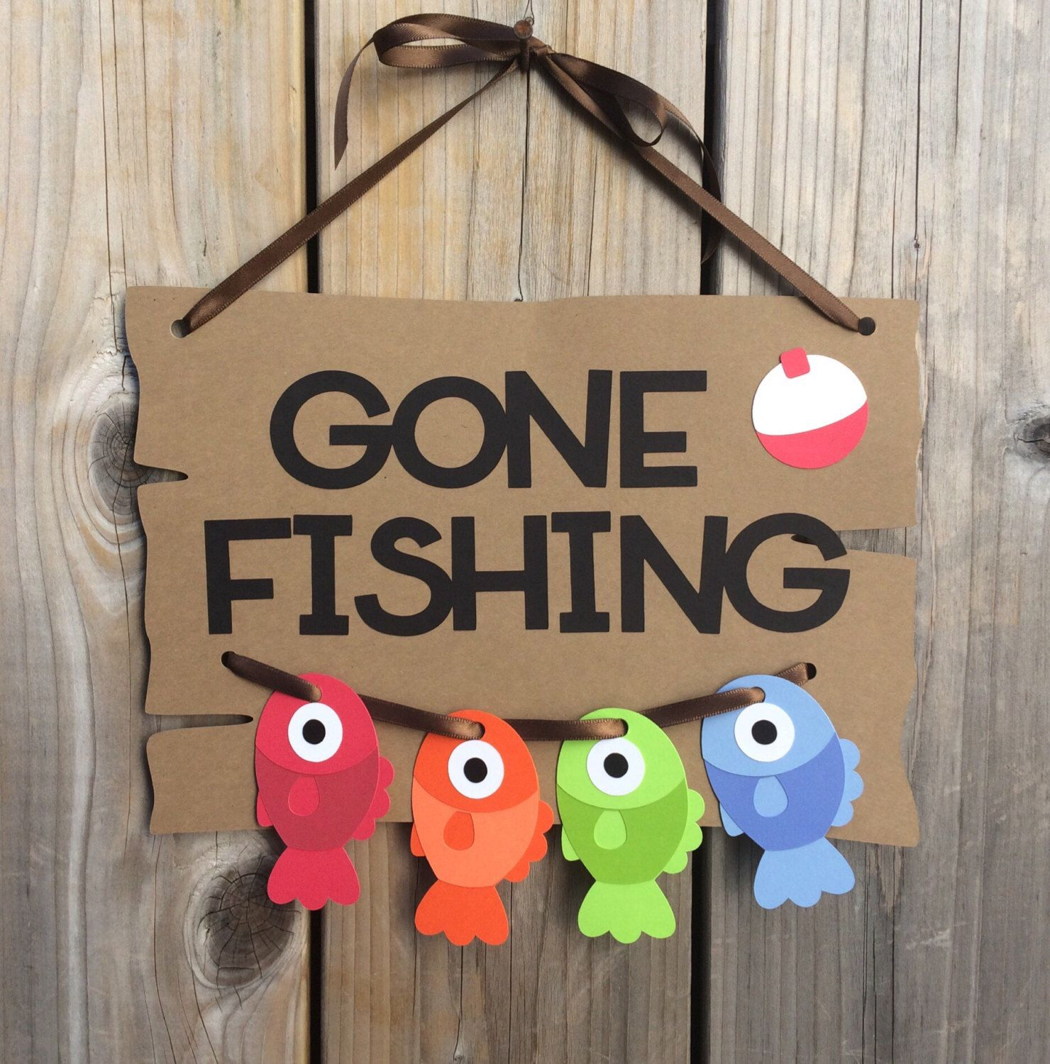 Gone fishing door sign fish door sign gone fishing baby for Baby shower door decoration