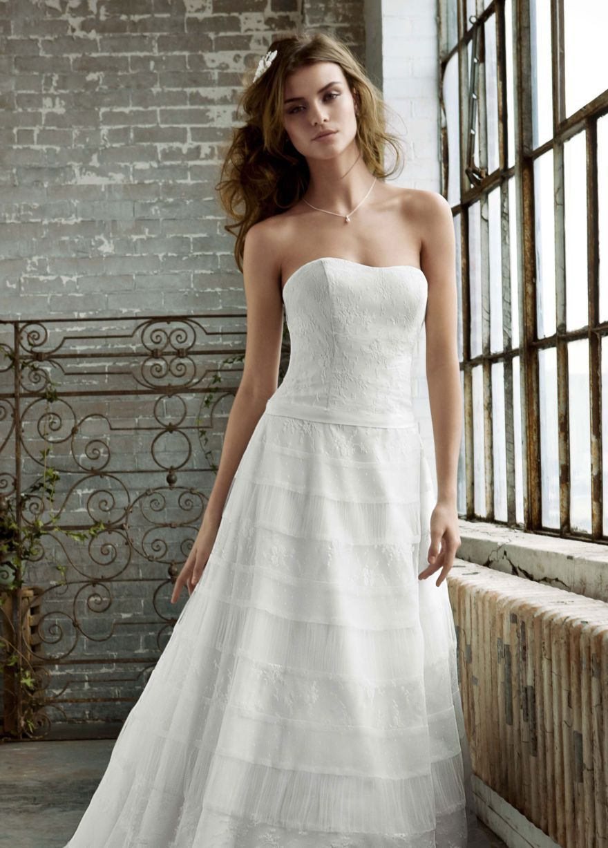 All over lace patchwork a line gown davidus bridal collection that