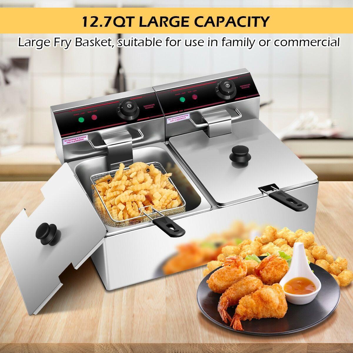 5000W Dual Tank Electric Countertop Deep Fryer Food