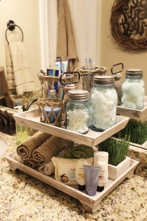 Guest bathroom tiered tray more home home decor tray - How to decorate a guest bathroom ...