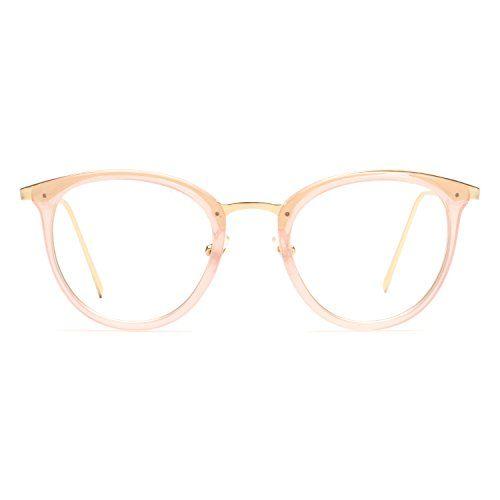 fa8bb57f3df KALIYADI Women Round Eyewear Fashion Frame Eyeglasses Optical UV400 Clear  Lens Glasses