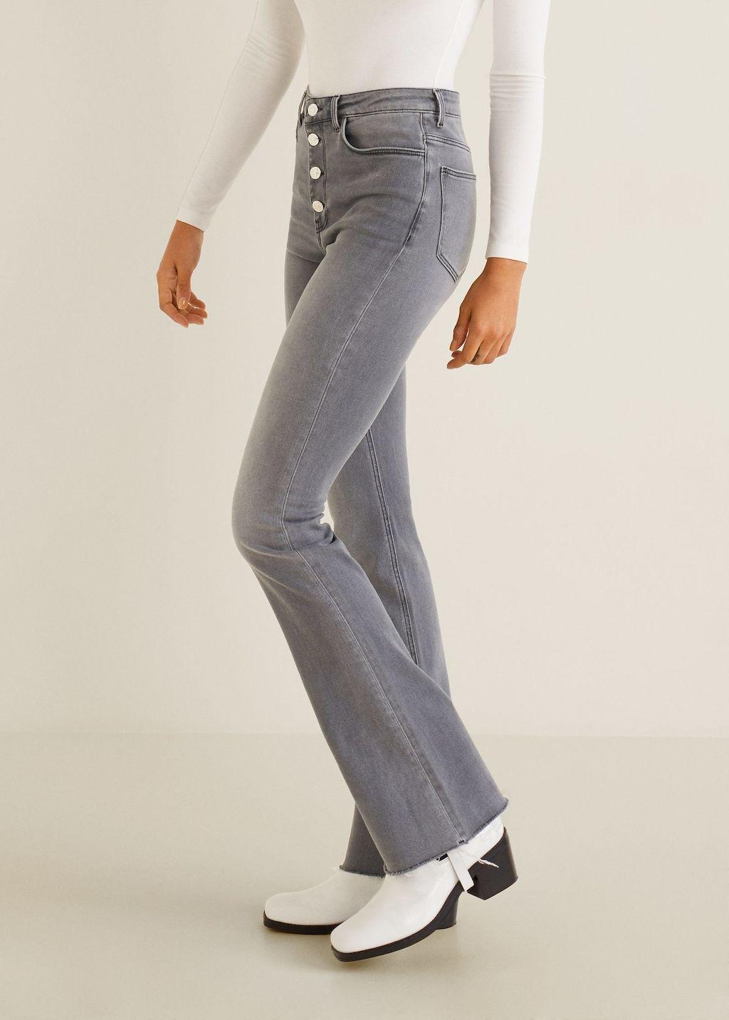 Dark Blue Flared jeans med knapper  MANGO  Jeans