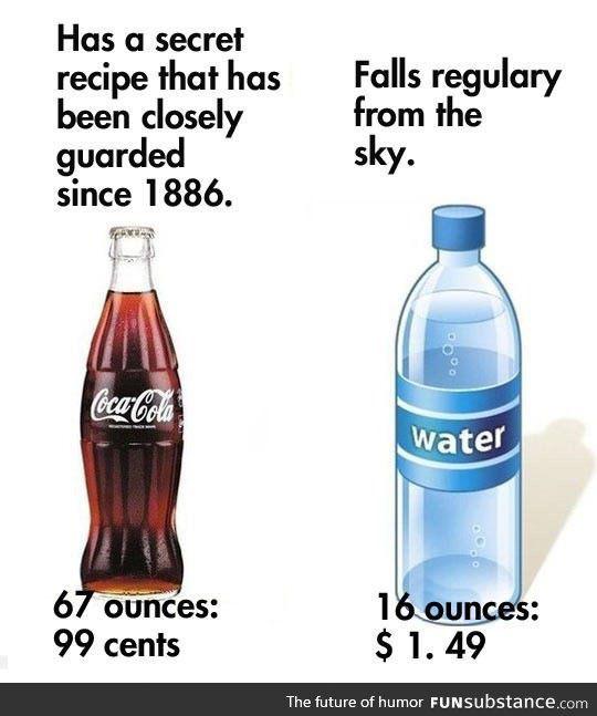 Bottled soda vs. Bottled water