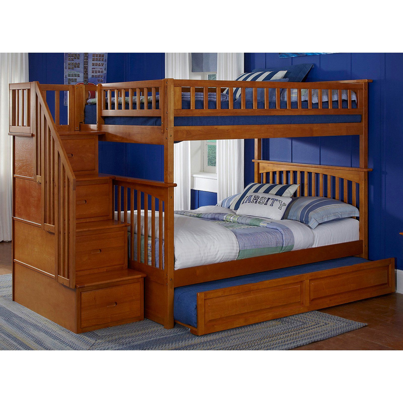 Atlantic Furniture Columbia Staircase Full Over Full Bunk Bed Bunk Beds Girls Bunk Beds Bunk Beds With Stairs