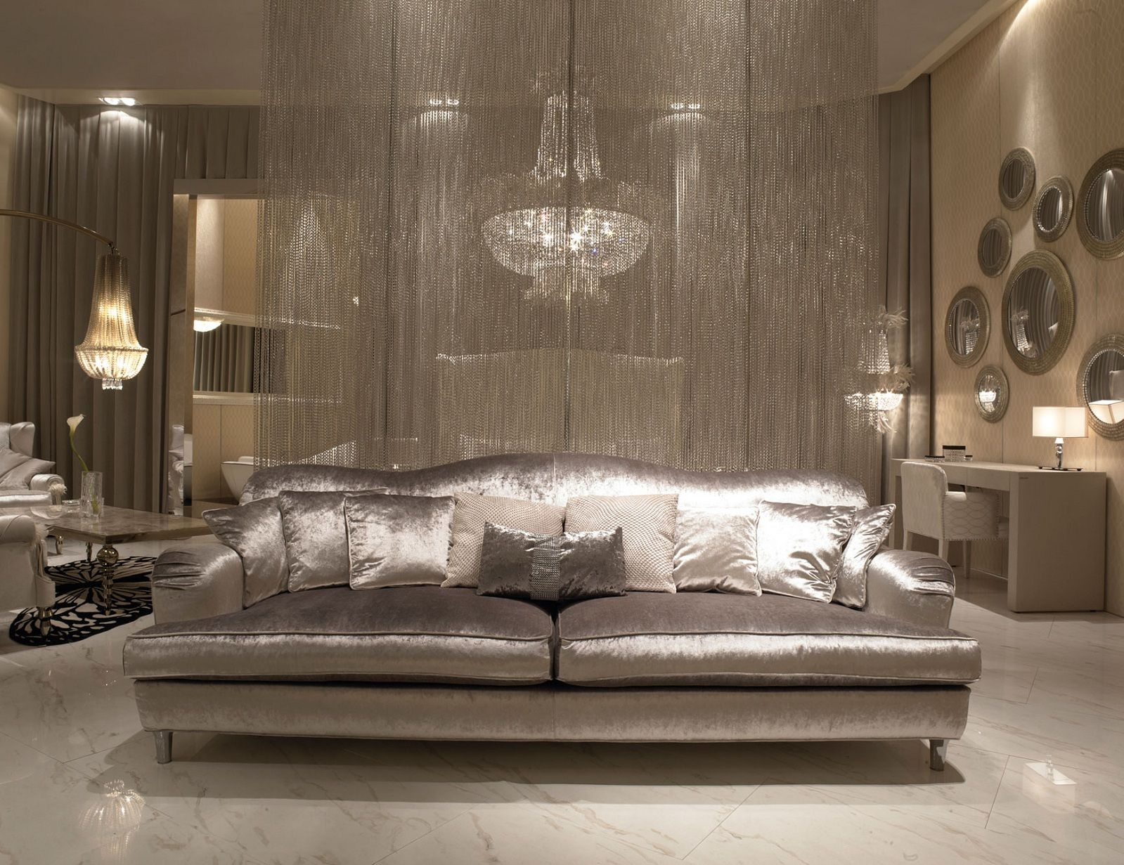 Hollywood Luxe Italian Designer Leather Sectional Sofa
