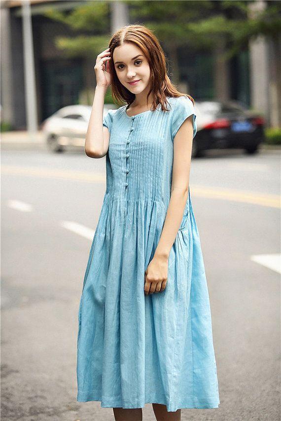e834caba574 Blue Linen Dress With Pintucks And Big Pockets Pale Blue