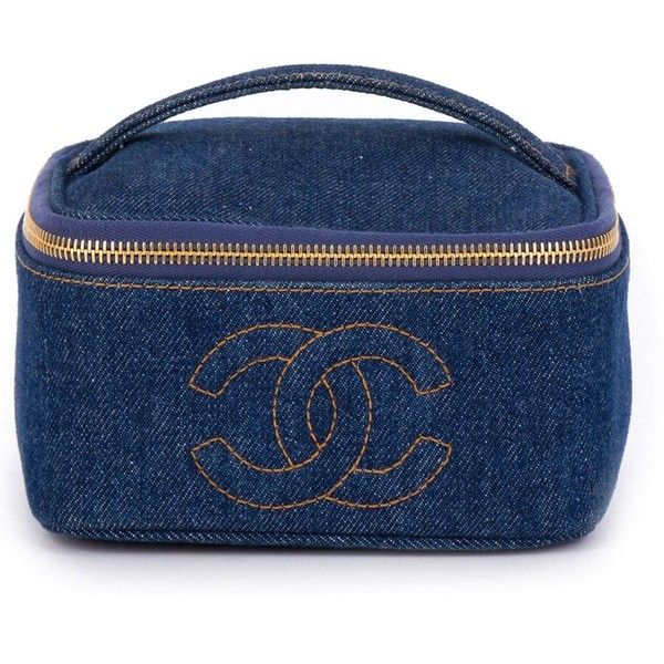 c55f4c4aa013 Chanel Vintage Denim Cosmetic Case ($2,104) ❤ liked on Polyvore featuring  beauty products, beauty accessories, bags & cases, chanel, blue, travel  toiletry ...