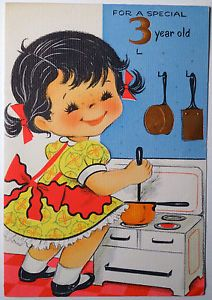 Vtg 1950s 3 Yr Old Birthday Greeting Card Girl Cooking At The Stove 338