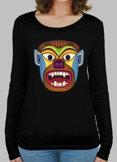 Camiseta mujer de manga larga de mascara etnica de gorila / hombre lobo inspirado en las mascaras andinas de ecuador