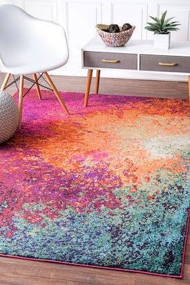 Rugs Usa Multi Chroma Abstract Seascape Rug Contemporary