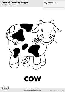 free cow coloring page from super simple learning tons of free farm animal worksheets and. Black Bedroom Furniture Sets. Home Design Ideas