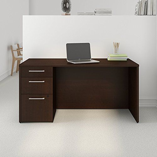 Put Down Your Roots With The Bush Business Furniture 300 Series Mocha Cherry Office Desk 3 Drawer Pedestal Handy Addresses Small
