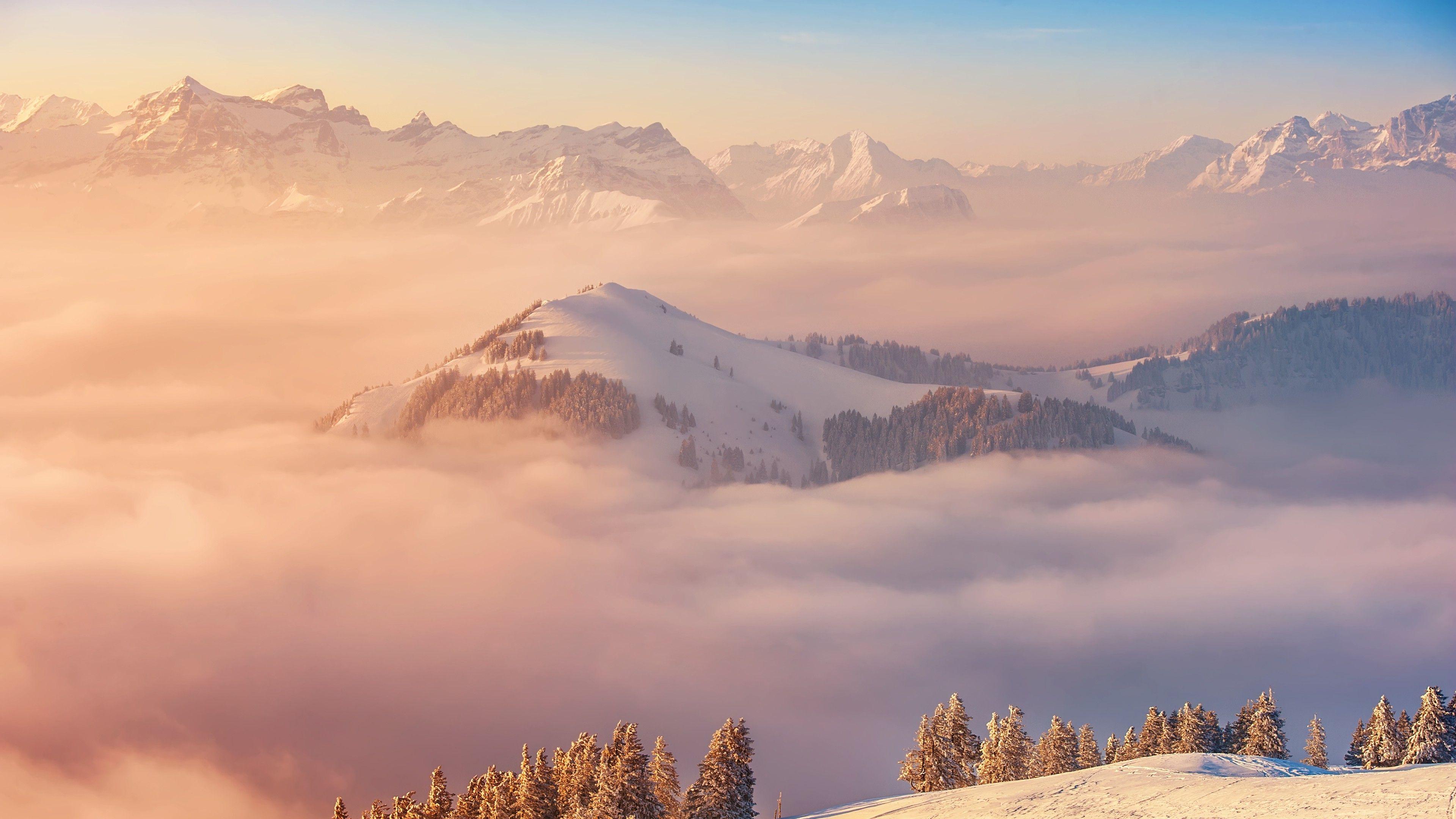 3840x2160 Landscape Mist Snow Trap Nation Demon Wallpapers Hd Desktop And Mobile Backgrounds Nature Wallpaper Switzerland Mountains Mountain Wallpaper
