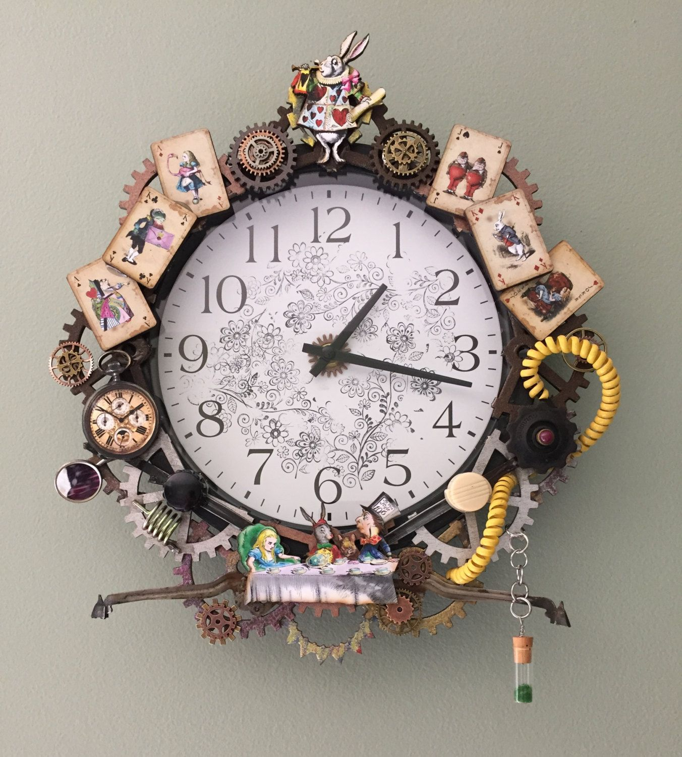 Embellished clock wall clock upcycled repurposed steampunk embellished clock wall clock upcycled repurposed steampunk wooden and metal amipublicfo Images