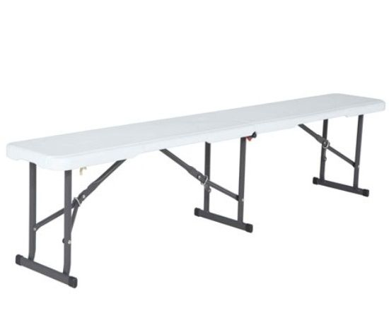 Exceptional Lifetime Plastic Fold In Half Bench White 6 Foot 80309. This Picture