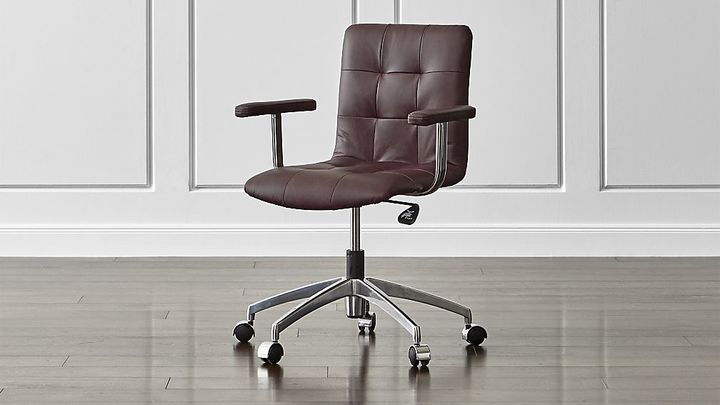 Groovy Navigator Saddle Brown Leather Tufted Desk Chair Brown Caraccident5 Cool Chair Designs And Ideas Caraccident5Info