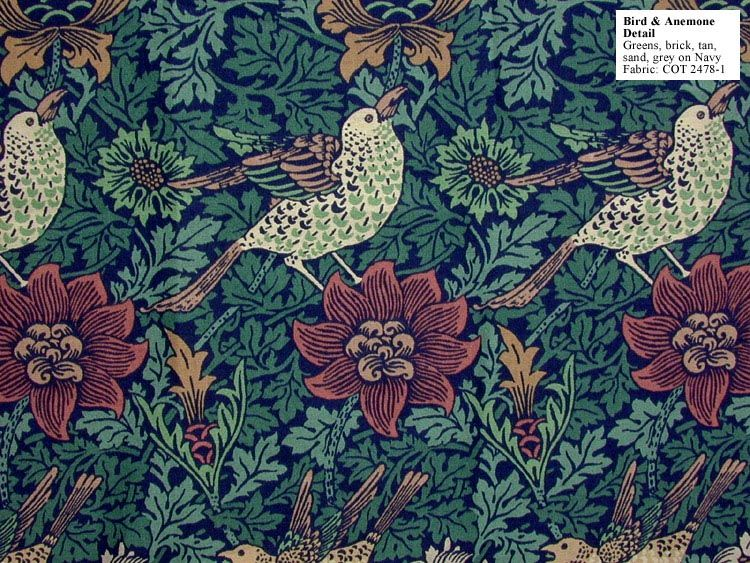 Historic Style Bird & Anemone by William Morris * F A