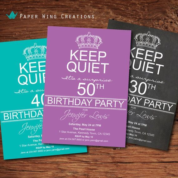 Adult Surprise 50th Birthday Party Invitation Men Women 40th Invite Keep Calm And On Purple Printable DIY AB45