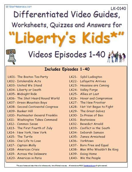 A Libertys Kids Episodes 01 40 Worksheet Answer Sheet
