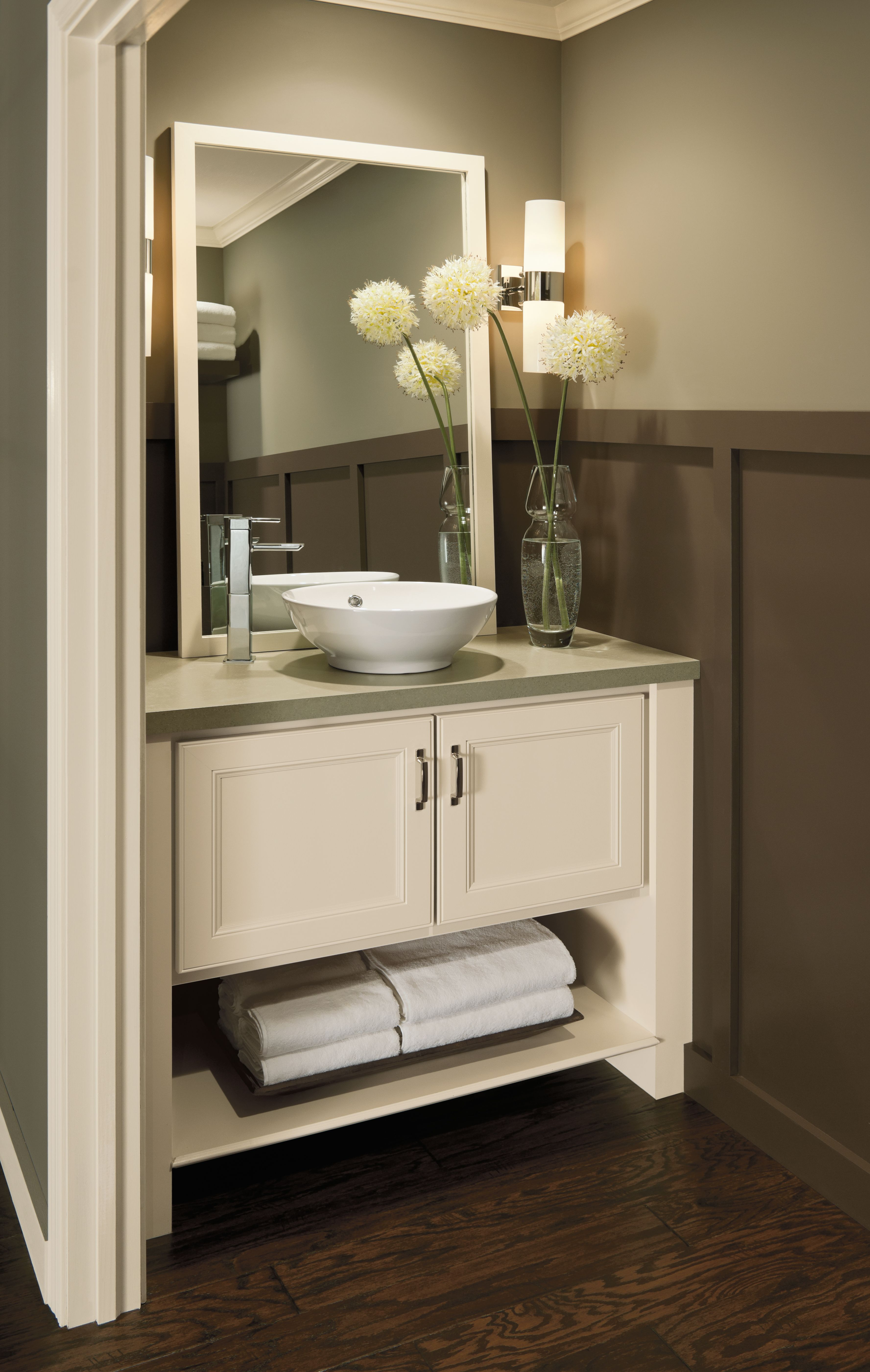 A great use of space in a smaller bathroom