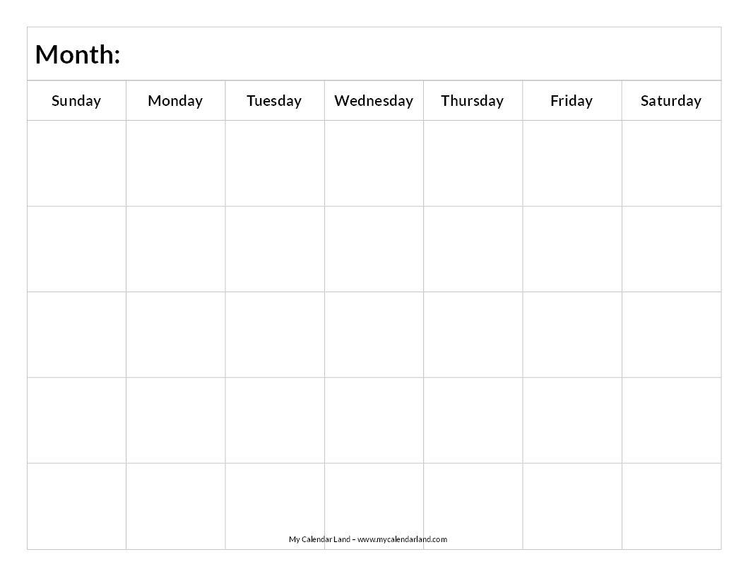 Printable Blank Calendar  Study Schedule    Printable