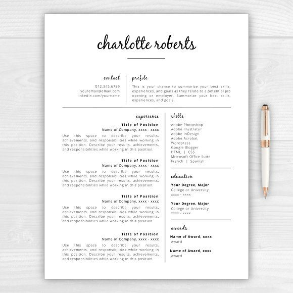 Resume/CV - Charlotte by Resume Template Studio on @creativemarket - resume goals