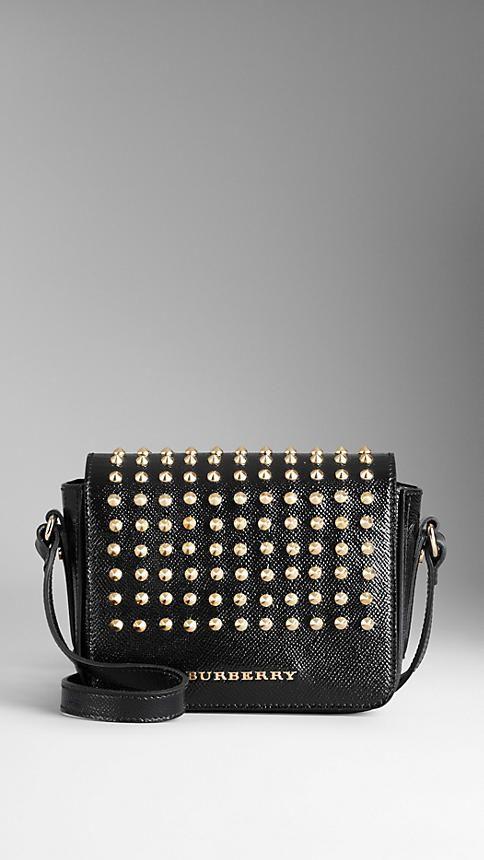 0fd2562e67e1 Studded Patent London Leather Crossbody Bag