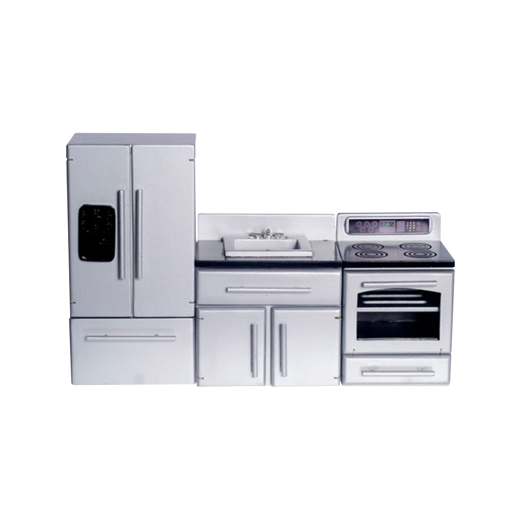 1 Inch Scale Stainless Steel Dollhouse Kitchen Set Dollhouse Miniatures Kitchen Kitchen Appliance Set Miniature Kitchen