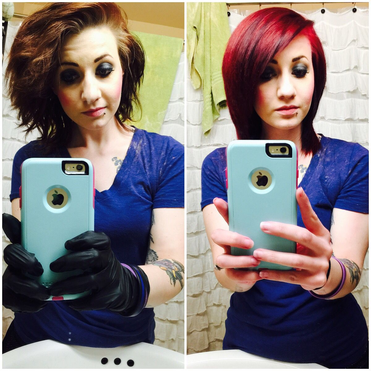 Before And After Manic Panic Vampire Red Brunette To Red Red Hair Red Hair Color Redheads