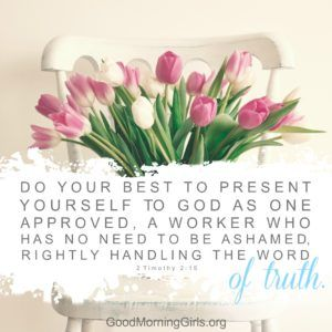 Do your best to present yourself to God as one approved, a worker who has no need to be ashamed, rightly handling the Word of Truth. 2 Timothy 2:15