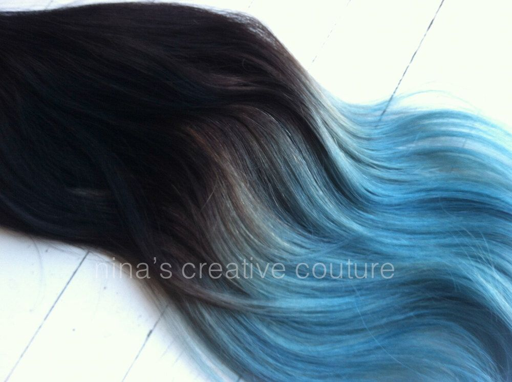Blue ombre hair extensions blue dip dye hair black or brown hair blue ombre hair extensions blue dip dye hair black or brown hair dip dyed pmusecretfo Images