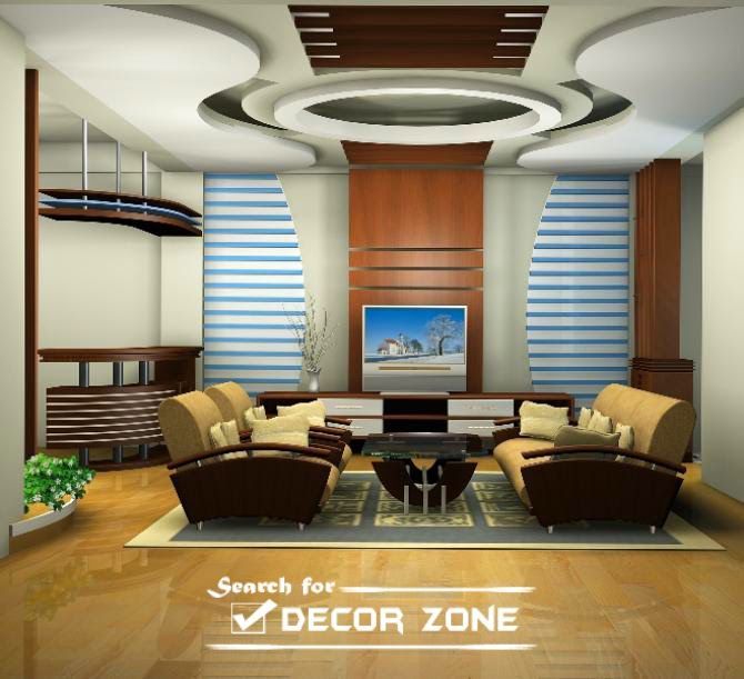 Creative Deckengestaltung, Wohnzimmer Modern Pop Zwischendecke ...