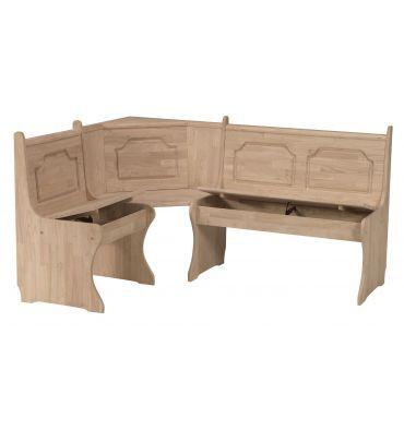 [67 Inch] Corner Storage Benches   Bare Wood Fine Wood Furniture | Groton,  CT