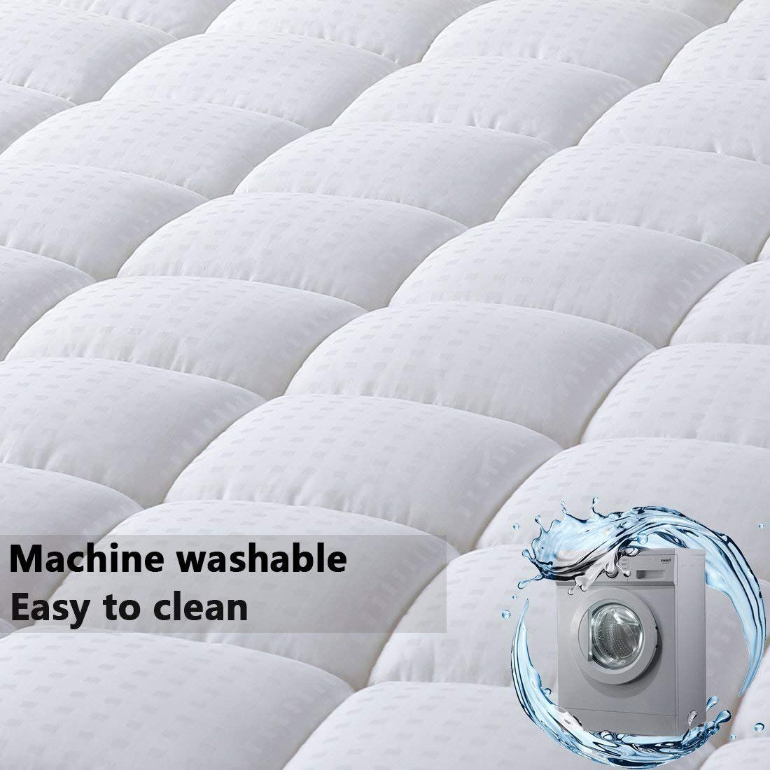 Merous Queen Size Cotton Mattress Pad Down Alternative Mattress Cover Hypoallergenic Fitted Quilted Mattres Mattress Covers Cotton Mattress Mattress Pad Cover
