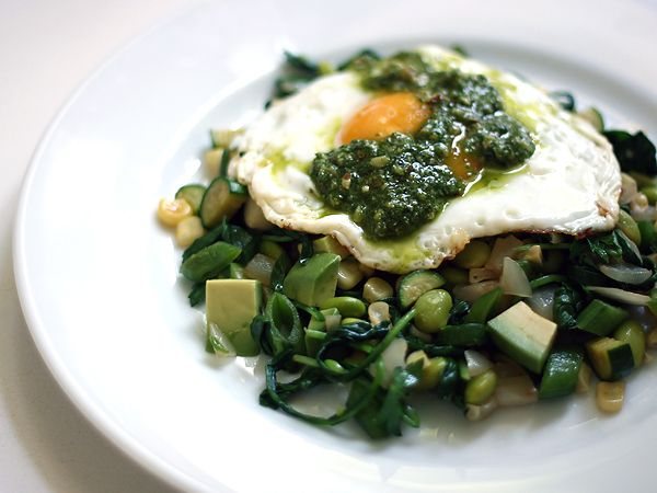 Sauteed Green Vegetables with Fried Egg and Arugula Walnut Pesto