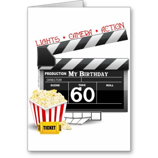 60th Birthday Movie Theme Card Zazzle Com 60th Birthday 50th Birthday Cards Movie Birthday Theme