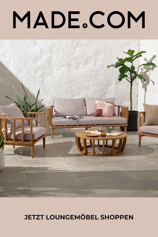 Aleksy Lounge Set Akazienholz Und Naturweiss In 2021 Lounge Akazienholz Gartenmobel Sets