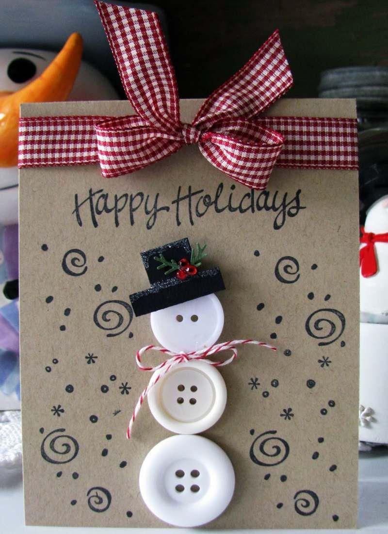 carte de vœux Noël faite maison  bonhomme de neige en boutons