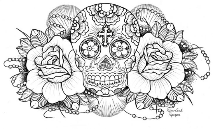 """Very Difficult Sugar Skull Coloring Page For Adults free 